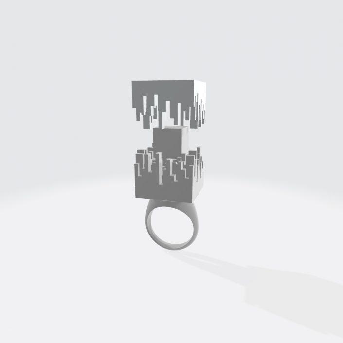 Prstan kocka Koncept in 3D model: Gašper Gajšek Foto: Manja Rep